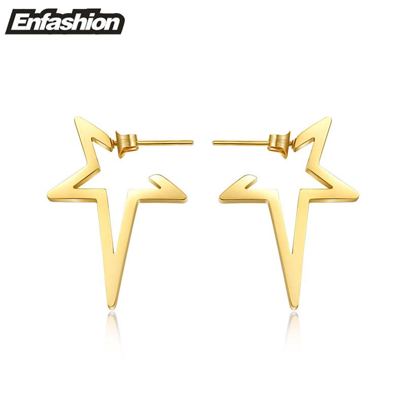 Fashion star earring punk stud earrings 18k rose gold earrings for women stainless steel earrings ear cuff wholesale