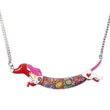 Bonsny Tuyên Bố Kim Loại Hợp Kim Men Animal Vật Nuôi Dachshund Chó Vòng Cổ Chuỗi Vòng Cổ Cổ Áo Mặt Dây Chuyền Thời Trang New Jewelry Cho Phụ N(China)