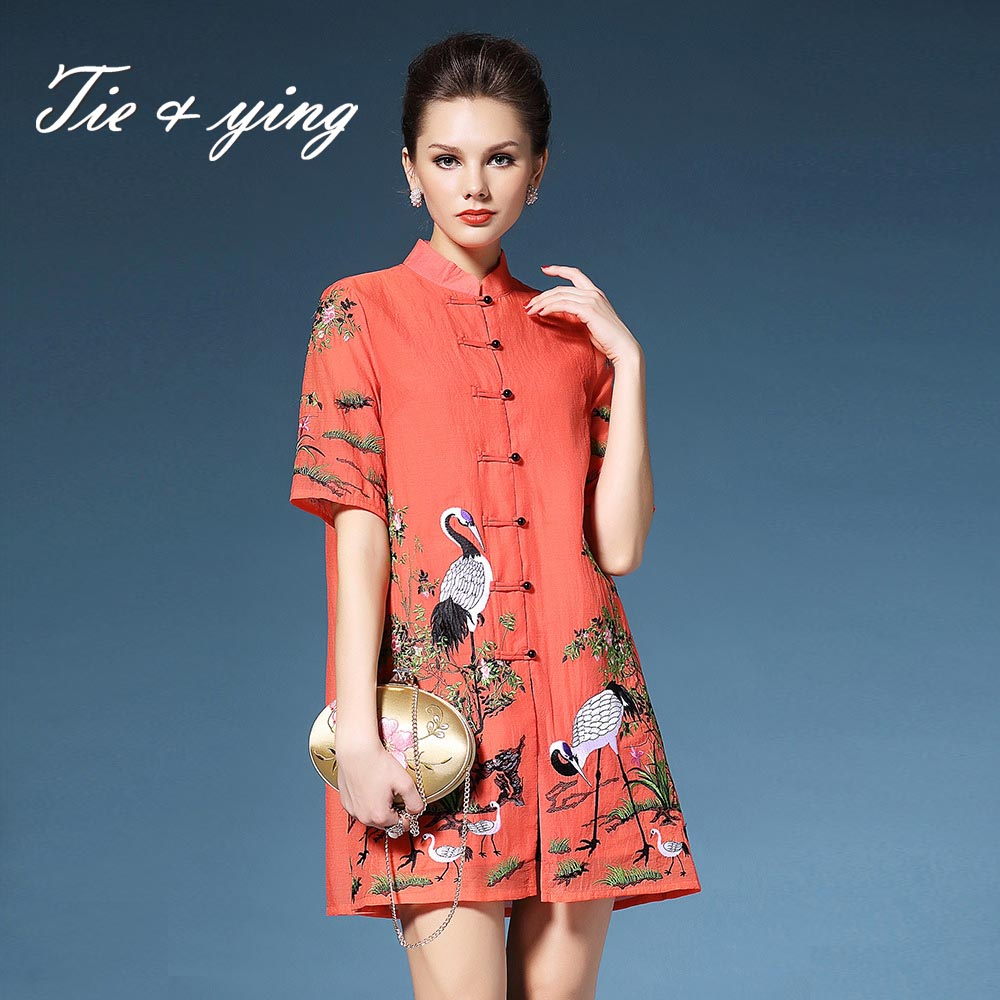 High-end vintage royal embroidered dresses 2016 summer new American and European fashion runway floral loose A-line shirt dress(China (Mainland))