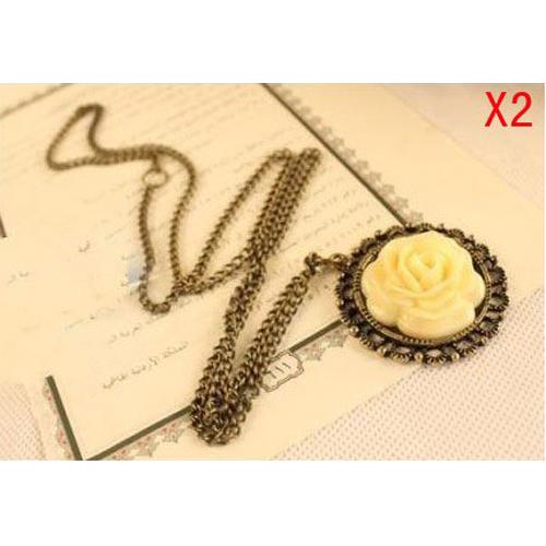 8 Pack New 2 Pcs x Practical Vintage Unique Bronze classic Flower style long necklace(China (Mainland))
