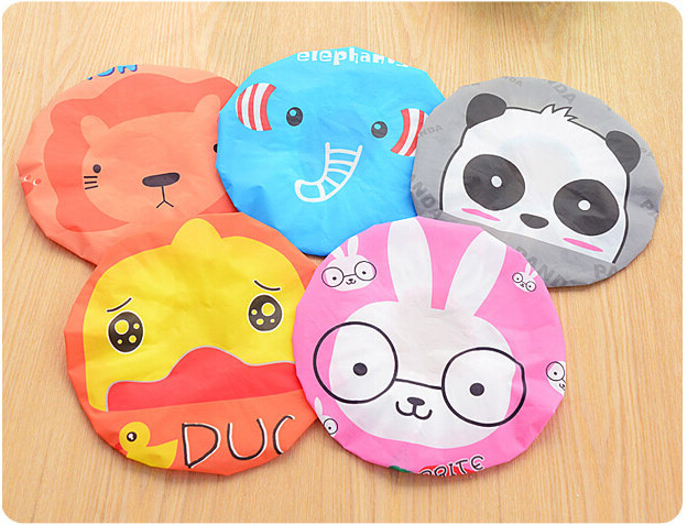 Cute Cartoon Waterproof toilet Shower caps dust Environmental Protection Lace Elastic Band Hat boy girl baby child children Bath(China (Mainland))