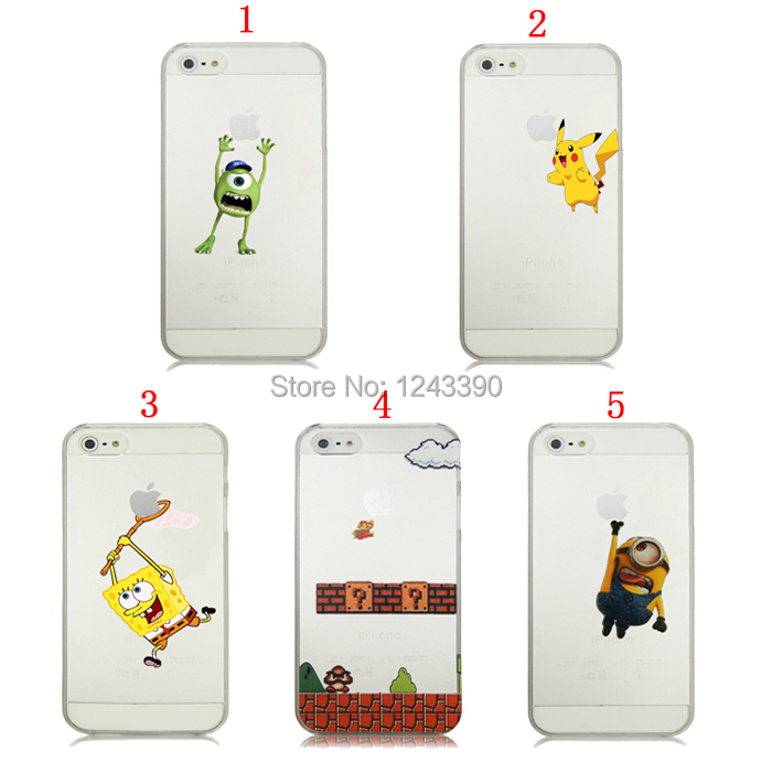 Cute Cartoon Despicable Me Minion SpongeBob Mario Monster Mike Clear Transparent Hard Plastic Case Cover For iPhone 4 4s 5 5g 5s(China (Mainland))