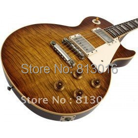 Musical instruments LP OEM 1959 R9 Tiger Flame Electric guitar luxury finished way with Chrome hardware! Free Shipping!(China (Mainland))
