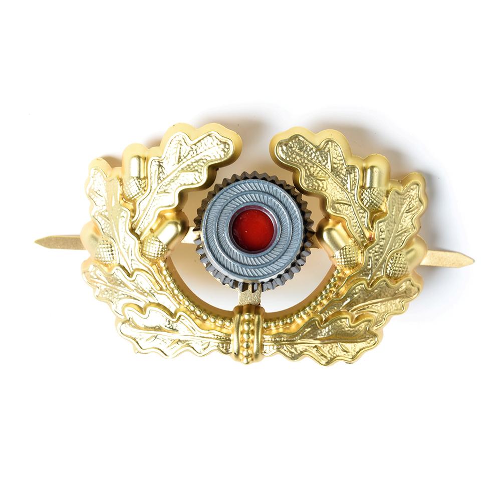 WW2 GERMAN VISOR CAP BADGE GOLD ARMY PANZER OFFICER'S WREATH COCKADE-38028(China (Mainland))