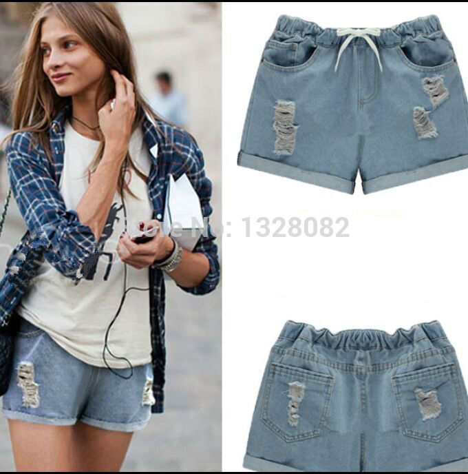 2015 Summer Women New Elastic Waist Jeans Shorts Plus Size Casual Female Bull Puncher