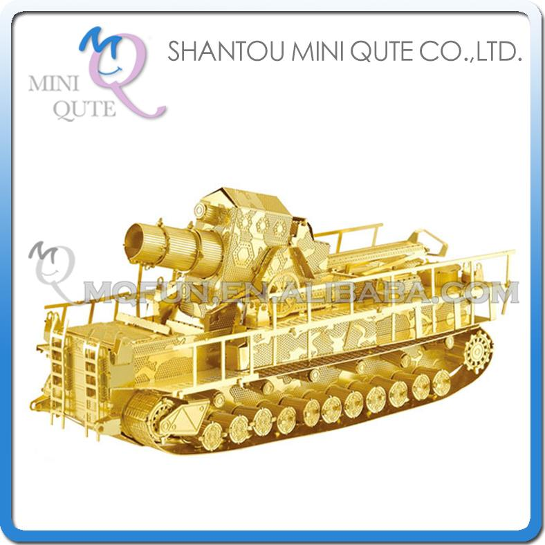 Mini Qute 3D Metal Puzzle Golden Railway Gun Tank warcraft military Adult kids model educational toys gift NO.I22213-1