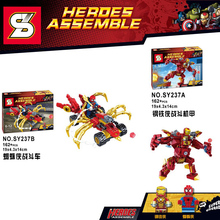 SY 2pcs/lot Marvel Super Heroes Ironman Spiderman Mech Action Figures Building Blocks Bricks Toys mye