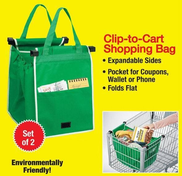 2015 New Grab Bag 2 pcs/pack Reusable Shopping Bag That Clips To Your Cart(China (Mainland))