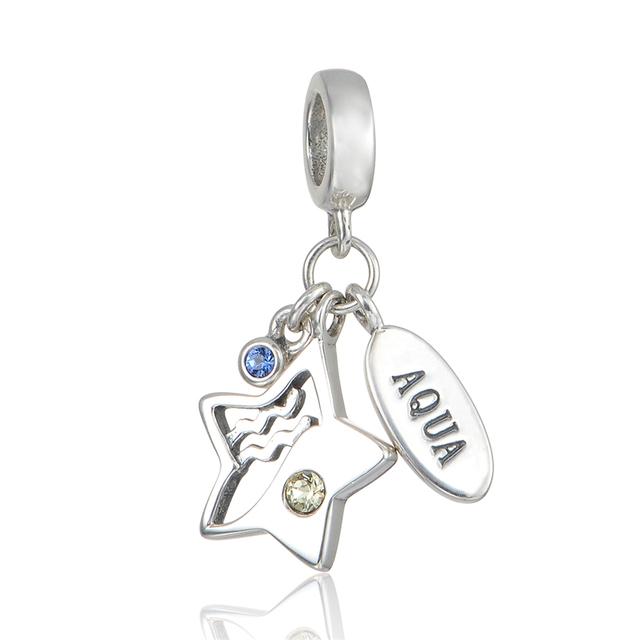925 - серебристо-ювелирные бусины аква и звезда CZ мотаться бусины Fit Chamilia пандора браслеты серебро 925 мода DIY