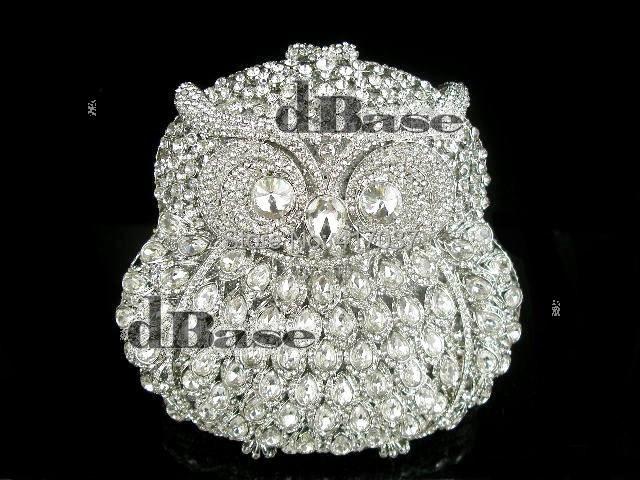 Crystal OWL 3D bird animal Silver Metal Wedding Bridal Party Night Metal Evening purse clutch bag box IN FREE SHIPMENT<br><br>Aliexpress
