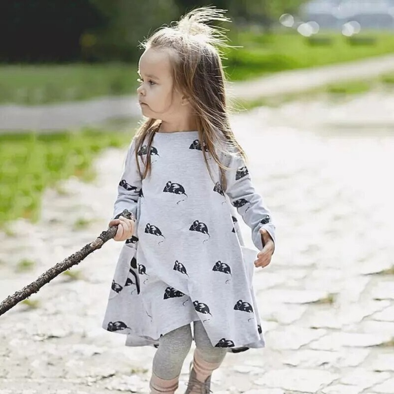 2016 New Fashion Dress Cute Little Mouse Cartoon Pattern Kids Clothes For 1-11 Years Girls Casual O-Neck Robe Ete Fille Dress(China (Mainland))