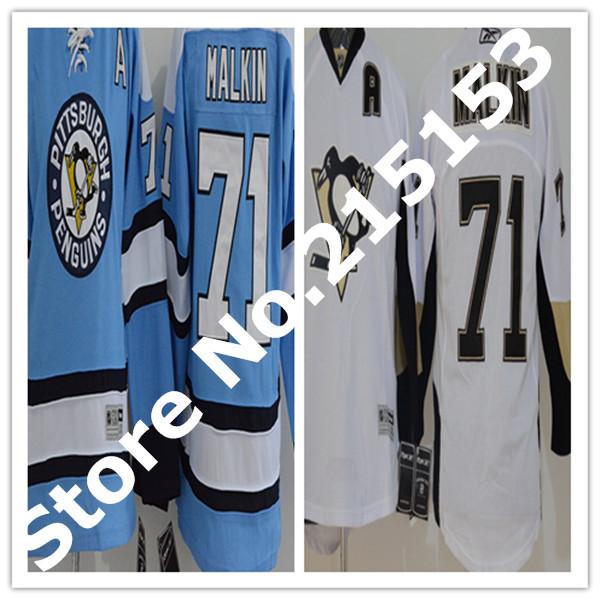 Boys NHL Hockey Jerseys Youth 71 Evgeni Malkin Jersey Kids, #71 Malkin Pittsburgh Penguins Hockey Jersey Stitched Blue and White(China (Mainland))