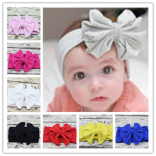 5″ Cotton Large Bowkont Baby girls Headbands Vintage sector Big Hairbows For Children Head wrap Bebes Lovely Cinta de cabeza 1Pc