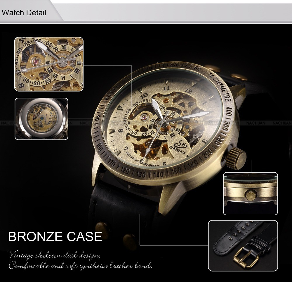 Shenhua Automatic Mechanical watch Skeleton leather Band Auto Men's Wrist Watch luxury brand fashion style vintage bronze watch