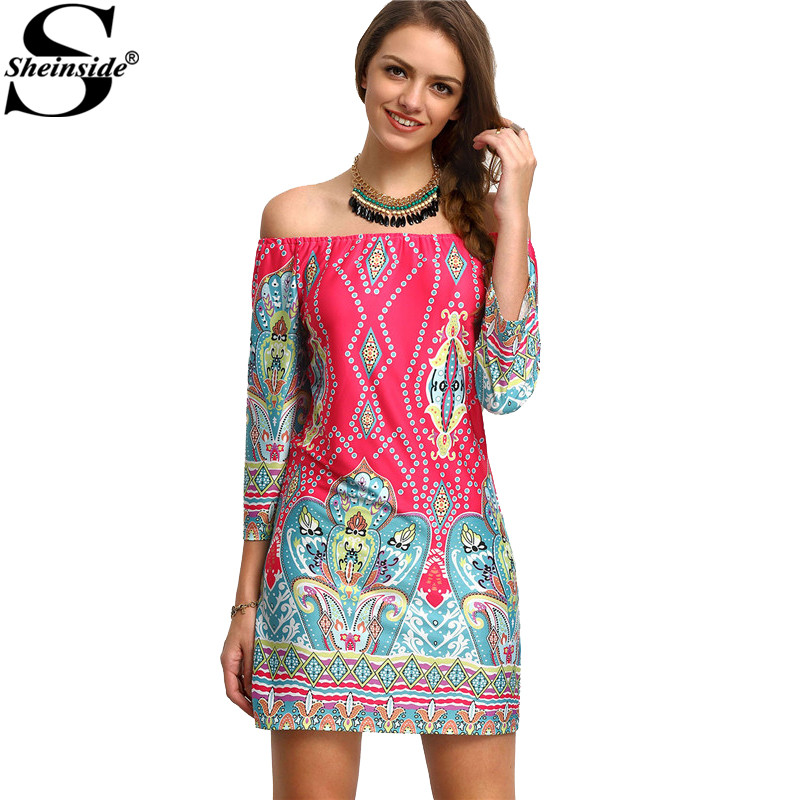 Sheinside 2016 Summer Style Women Summer Multicolor Boat Neck Tribal Print Three Quarter Length Sleeve Shift Dress(China (Mainland))