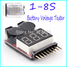 for 1-8S Lipo/Li-ion/Fe Battery Voltage 2IN1 Tester Low Voltage Buzzer Alarm Hot Selling(China (Mainland))