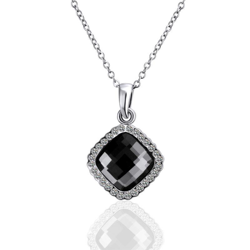 18KGP N496 Classic Black Crystal 18K Platinum Plated Fashion Jewelry Nickel Free Pendant Austria Crystal Elements(China (Mainland))