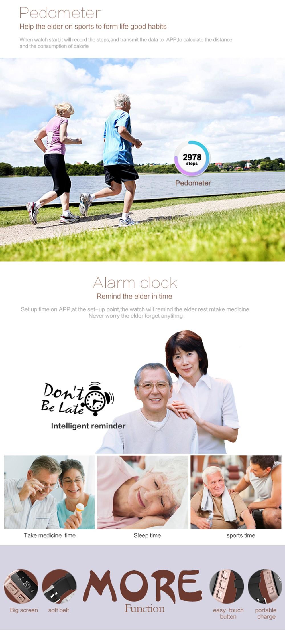 ถูก แบรนด์ใหม่D99 0.96 ''หน้าจอOLEDผู้สูงอายุสมาร์ทติดตามนาฬิกาจีพีเอสที่มีนาฬิกาปลุกอินเตอร์คอมPedometer SOSภูมิศาสตร์รั้วการตรวจสอบระยะไกล.