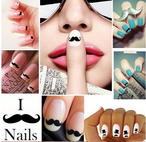 2013 new 3D British style mustache DIY nail stickers 24 styles with adhesive Free shipping(China (Mainland))