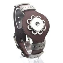 25CM מתכוונן הצמד צמיד בציר מתכת עור צמיד Fit 18mm הצמד כפתור צמיד לגברים תכשיטי שעון חגורה 9420(China)