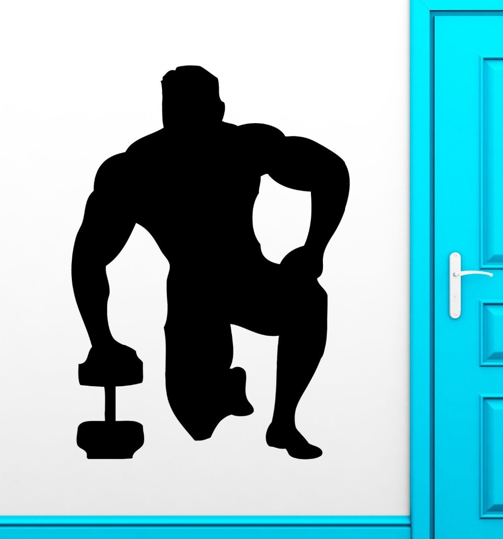 GYM Fitness Sticker Body-building Decal Muursticker Posters Vinyl Wall Decals Parede Decor Mural 19 Color Choose Fitness Sticker(China (Mainland))