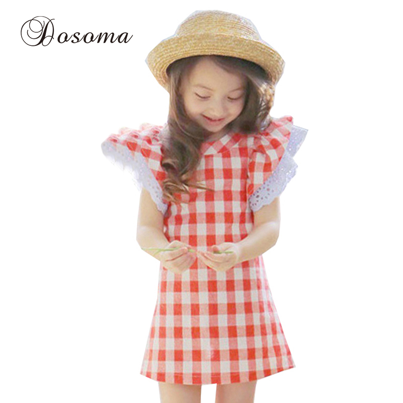 Retail 2016 Baby girl fashion dress kids plaid summer dresses girls Brand princess baby grils easter dress for 2~7Y age(China (Mainland))