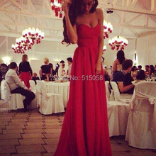 Cheap Red Chiffon Long Sweetheart Prom Dresses 2015 Elegant Evening Gowns Formal Dress Party