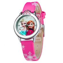 New Princess Elsa Anna Children Kids Cartoon Watch  Snow Queen Leather Quartz Watches Fashion Girl Student Wrist Watches Clock(China (Mainland))