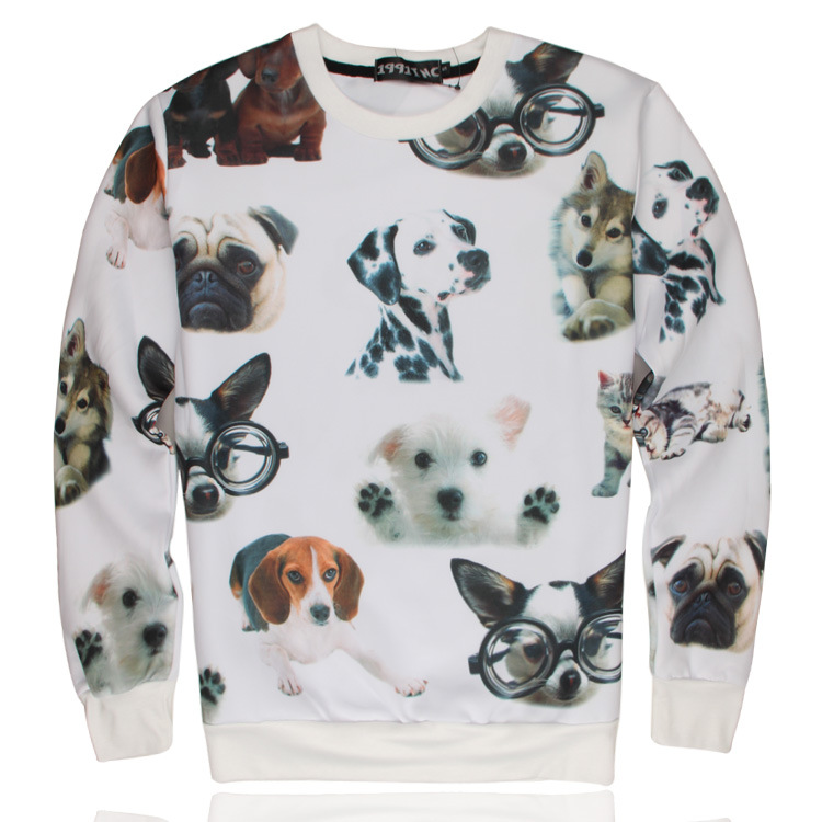 3D printing sweatshirt cute dog pattern wild 2015 new winter lovers