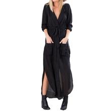 Buy Vestidos 2017 Spring Women Vintage Casual Loose Long Maxi Split V Neck Dress Sexy Ladies Chiffon Beach Dress US Plus Size 4-24 for $12.84 in AliExpress store