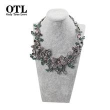 2016 New Fashionable Flower Necklace Vintage Flower Shape Large Statement Necklaces & Pendants Bohemia Style Resto Maxi Necklace(China (Mainland))