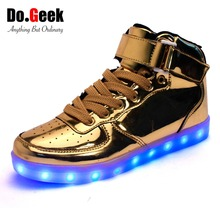2016 DoGeek High Top LED Shoes Women and Men Fashion Light up Shoes USB Charge Mirror Gold Silver Unisex Casual Shoes EUR 35-46(China (Mainland))