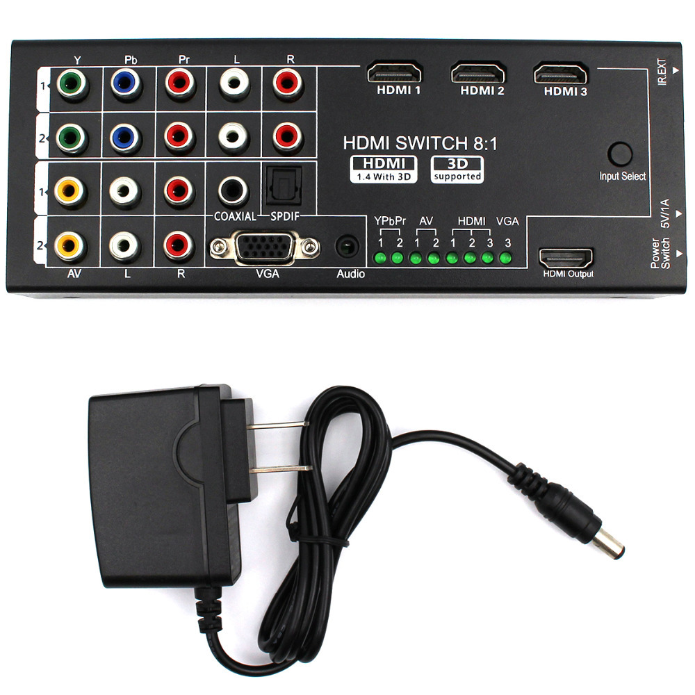 Multi-functional HDMI Converter Switch 8 Inputs to HDMI+COAXIAL+SPDIF Output Support 3D and Surround Sound for 1080P HDTV(China (Mainland))