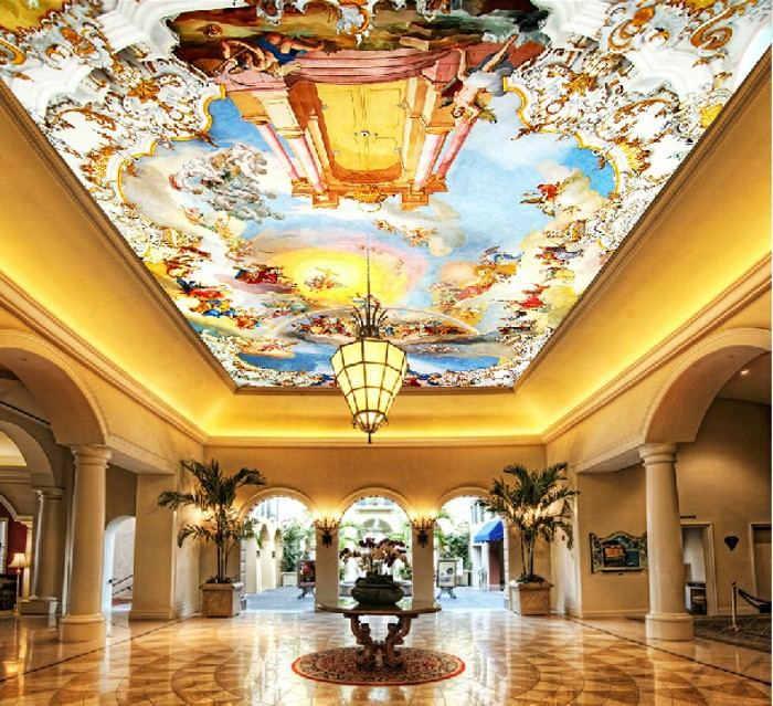 Mural ceiling dome hall is roof ceiling decorative for Ceiling mural wallpaper