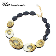 Buy Fashion statement Acrylic Necklaces Round pendant Leather chain maxi Necklace women pendants Choker colar chocker kolye collares for $8.80 in AliExpress store