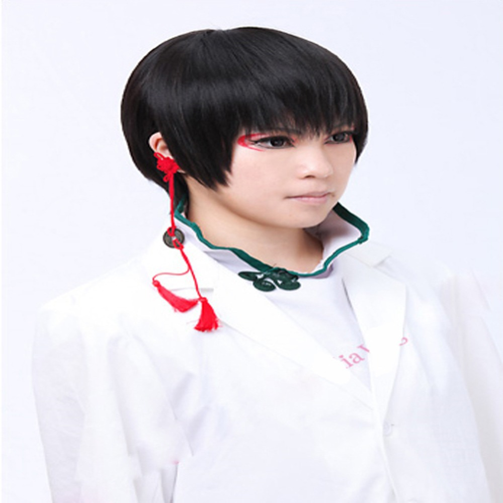 2014 Anime 12' Full Party Short Black Western Men's Black Short Bob Straight Wig(China (Mainland))
