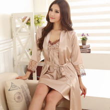 gilet women sexy bathrobe female robe silk spaghetti strap lace sleepwear twinset nightgown set plus size lounge Nightdress(China (Mainland))