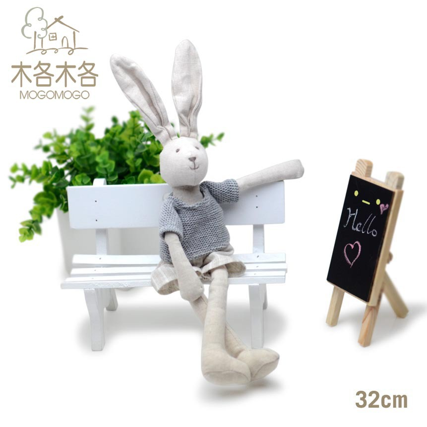 32cm27cm cute boy bunny rabbit toy plush toys with sweaters,cotton linen Eco material ,plush toys for birthday party gift(China (Mainland))