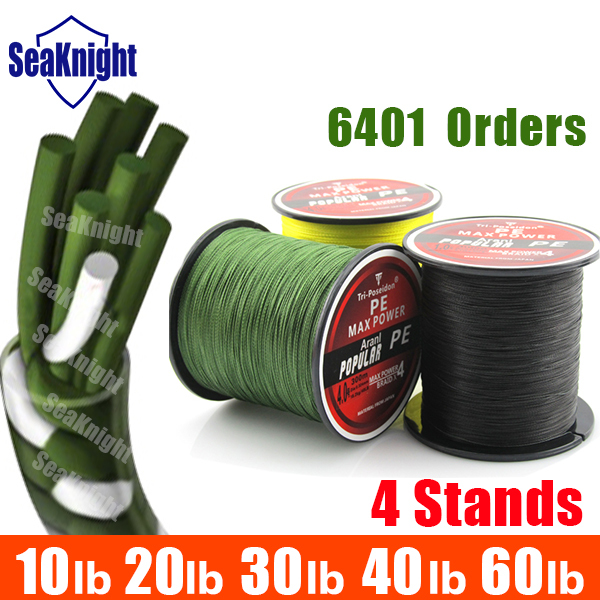 TriPoseidon Brand 300M 330Yards Multifilament PE Braided Fishing Line 4 stands 8LB 10LB 20LB 30LB 40LB