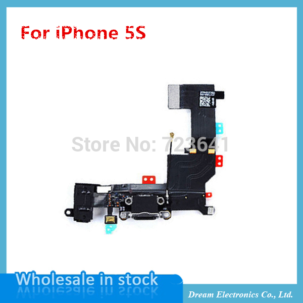 20pcs/lot New Charging flex cable for iphone 5s headphone Audio Jack USB port dock connector flex cable(China (Mainland))