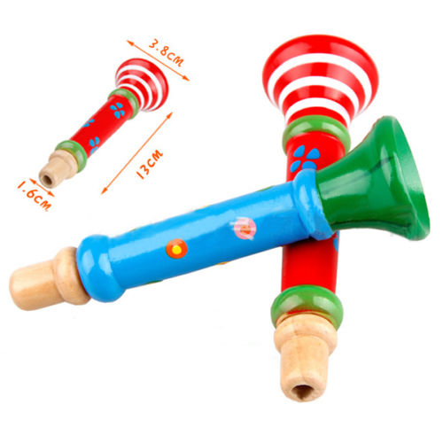 Retail Funny Baby Kids Wooden Toys Trumpet Child Musical Instrument Toys Hooter Bugle Suona Hot(China (Mainland))