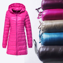 Women's winter with a hood down coat plus size thin slim medium-long female outerwear 6806