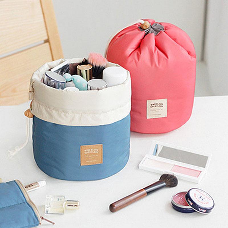 Barrel Shaped Travel Cosmetic Bag Nylon Wash Bags Makeup Organizer Storage Travel Bag High Capacity Drawstring Elegant Drum(China (Mainland))