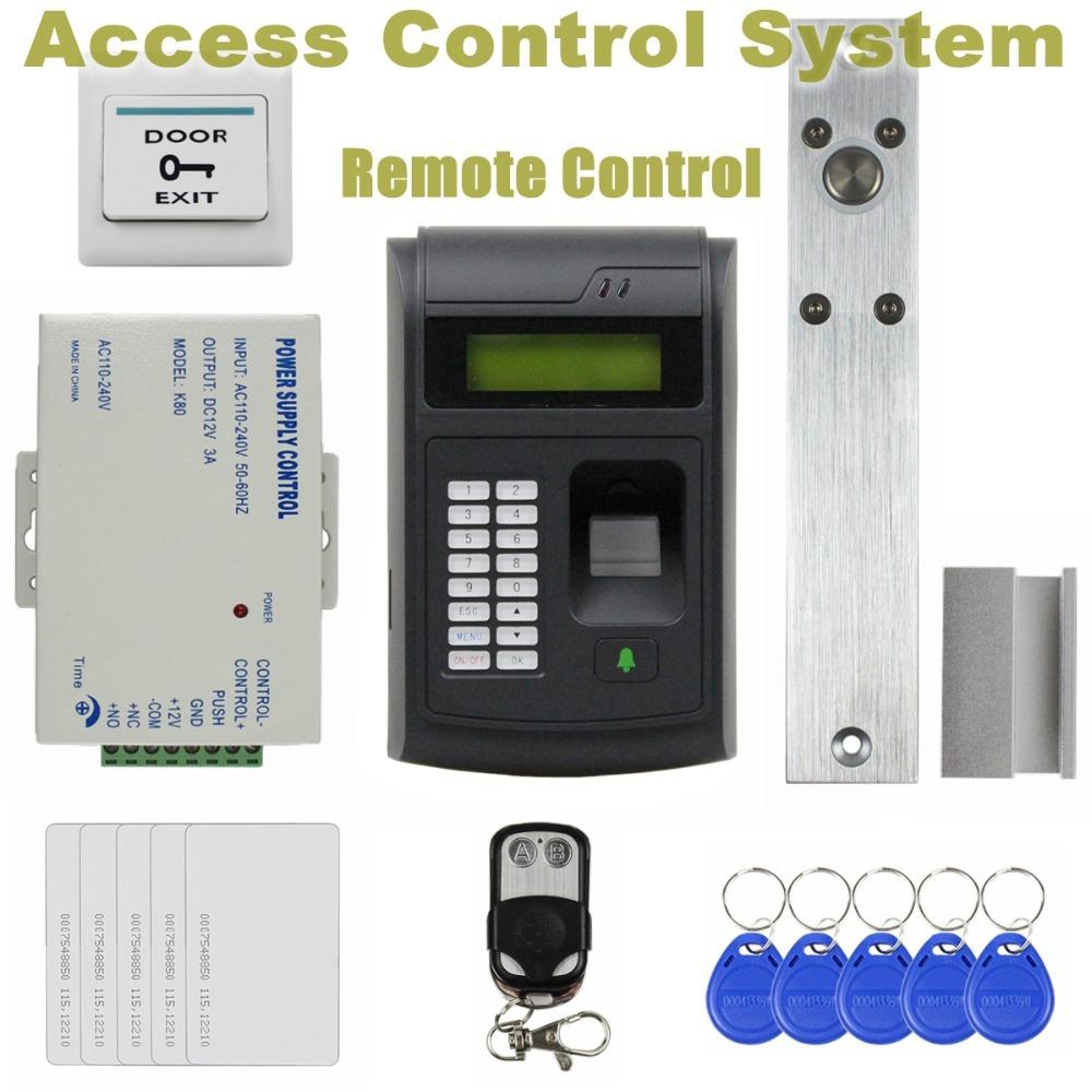 Remote Control 125KHz RFID LCD Fingerprint Keypad ID Card Reader Access Control System Kit + Electric Bolt Lock 208I-S(China (Mainland))