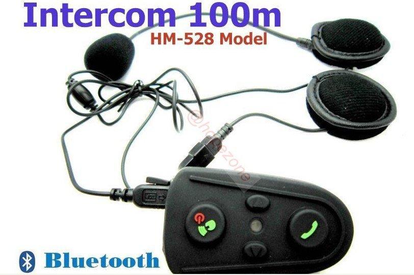 Free Shipping!!2pcs pack 100m Intercom Bluetooth FM Motorcycle Motorbike Helmet Headset HM-528(China (Mainland))