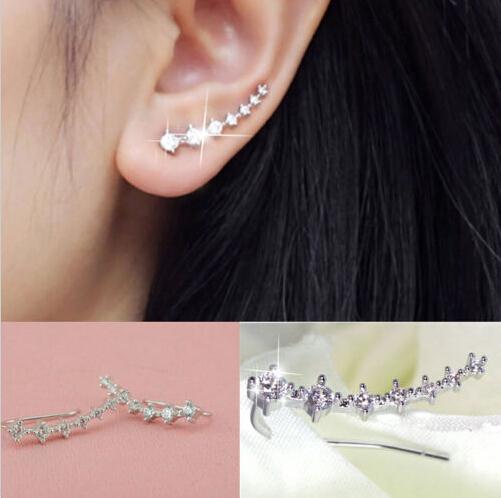 Гаджет  1 Pair Silver Gold Plated Stars Element Crystal Pearl Earrings Ear Hook For Women Girl Stud Earrings Jewelry Er794 None Ювелирные изделия и часы
