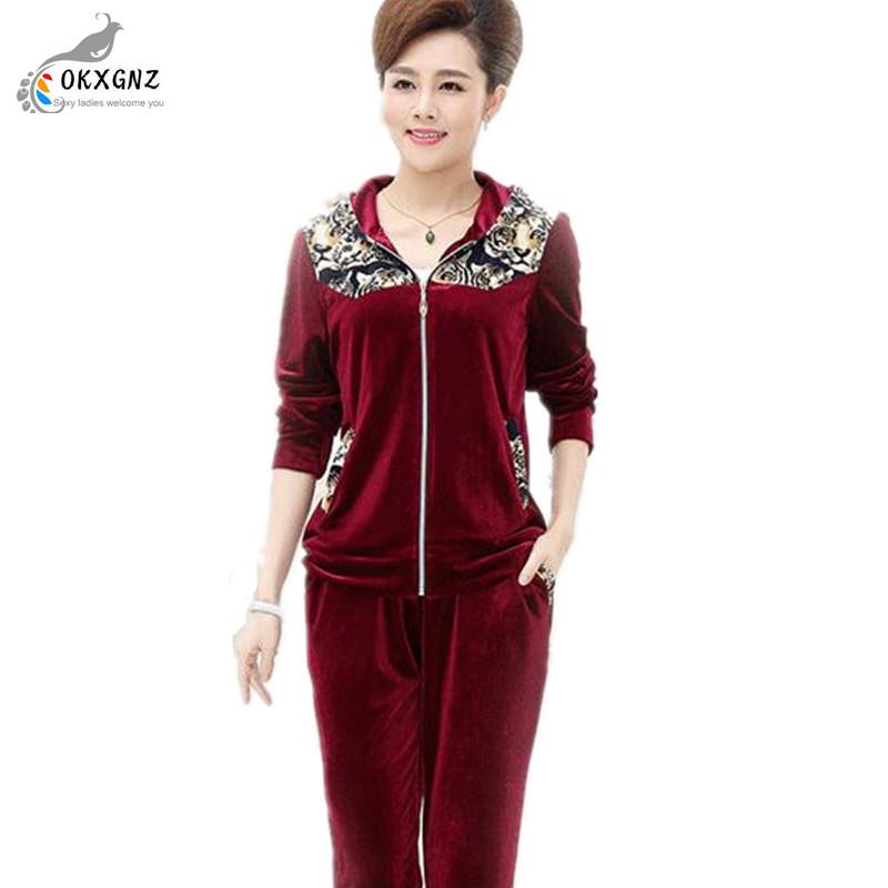 2017 Women Sporting Suit Casual zipper Sweatshirt Gold velvet 2 Pieces Set Women Sportswear Suit Spring lady Suit Sets OKXGNZ(China (Mainland))