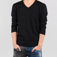Personalized 2015 Autumn pullover sweater Men's  plus size XXXXL,5XL fashion solid color V-neck slim sweater  Free Shipping