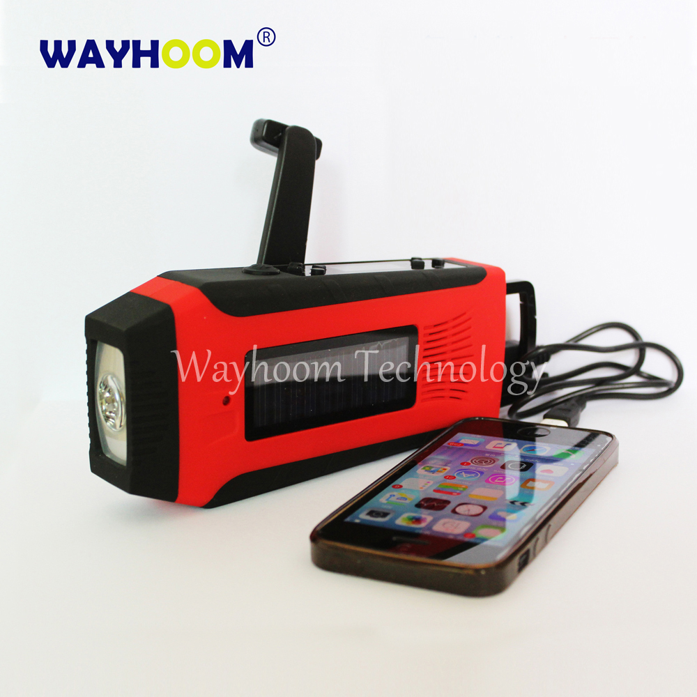 Hand Crank Phone Charger Solar Power AM/FM/NOAA Radio With Flashlight Super Bright(China (Mainland))
