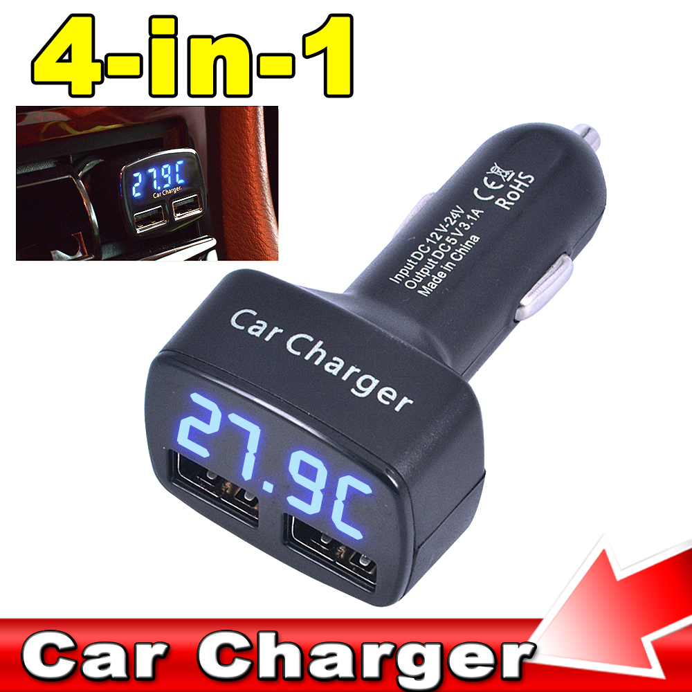 Dual USB Car Charger Adapter 5V 3.1A 2 Port Car-Charger For iPhone6 Samsung With Voltage/temperature/Current Digital LED Display(China (Mainland))